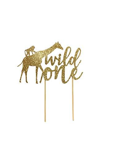 Wild One Safari Jungle Giraffe Monkey Cake Topper For First Birthday Cake Smash Gold Rose Gold Blue Silver Black Glitter Cardstock Topper