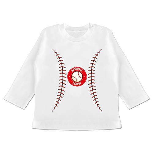 Karneval und Fasching Baby - Baseball Kostüm - 3-6 Monate - Weiß - BZ11 - Baby T-Shirt - Baseball Kostüm Babys