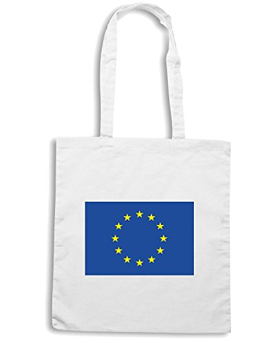 T-Shirtshock - Borsa Shopping TM0259 Union Europea EU Flag flag Bianco