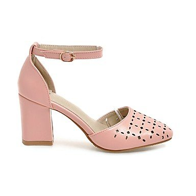 LQXZM Sandales femmes Chaussures occasionnels d'été Club similicuir hollow-out Talon Rouge Rose jaune beige Noir Blanc 3in-3 3/4 White
