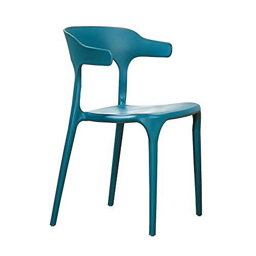 Jxyu - sedia da pranzo con scocca in plastica per sala da pranzo o cucina, sedia da ufficio sedia da ufficio, schienale curvo, sicuro e confortevole, forte capacità portante, impilabile, blu