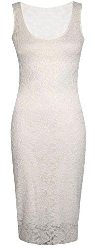 Damen Sleeve weniger Floral Lace Midi-Kleid, enganliegend, lang, aus Spitze, Gr. Gelb - Cremefarben