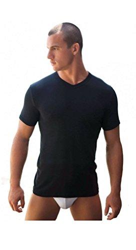 3 maglie t-shirt corpo uomo NAVIGARE 100% cotone m/m scollo a V nero art.512 (TG.5)