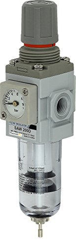 PneumaticPlus SAW200-N02BGS Miniature Compressed Air Particulate Filter Regulator Piggyback Combo 1/4 NPT - Poly Bowl, Manual Drain, Bracket, Embedded Gauge by PneumaticPlus (Regulator Miniature Air)