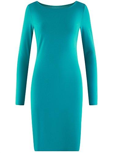 oodji Ultra Damen Enges Jersey-Kleid Türkis (7300N)