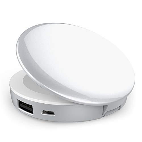 Powerbank kleine Schminkspiegel LED Beleuchtet - 3000mAh Portables Ladegerät, Make up Spiegel...