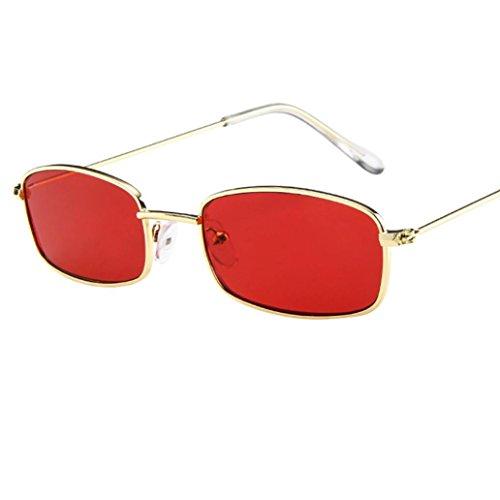 EUZeo,Vintage Glasses Square Shades Small Rectangular Frame UV400 Sunglasses for Women Man Ladies (C)