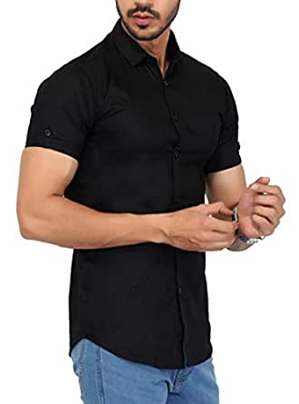 U-TURN Men's Cotton Solid Half Sleeve Shirt (Black, Small)