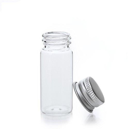 Hustar 20 Pièces 10ml Bouteilles Vide en Plastique Contenant Cosmétiques Transparente Bouteille Huile Essentielle avec Couvercle Argenté