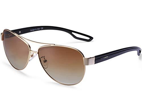 Carfia UV400 Schutz Polarisierte Damen Herren Sonnenbrille Pilot Brille für Fahren, Freizeit und Reise (B - Rahmen: Gold; Linsen: Braun)