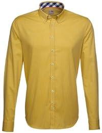 Seidensticker Herren Langarm Hemd Schwarze Rose Slim Fit Button-Down-Kragen gelb gestreift mit Patch 228502.64