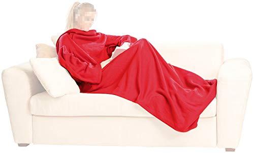Decke mit Ärmel, aus kuscheligem Micro-Polarfleece - Decke - Kuscheldecke -  / weinrot -  Freie Hände und warme Füße- Maße - 150 x 250 cm -