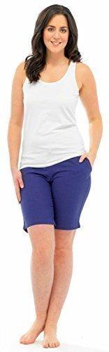 Desire Clothing Pantalon en lin Motif Casual Short de plage et les vacances Violet