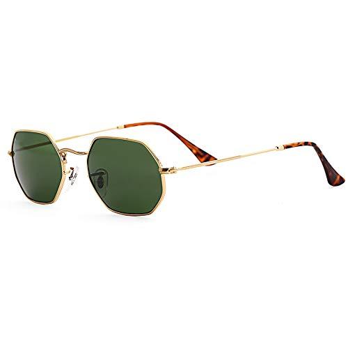 WSXCDEFGH Einkaufen Sechseckige Sonnenbrille Frauen Männer Glaslinse Spiegel Schild Sonnenbrille