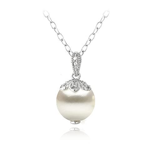 Sterling Silver Diamond Accent Freshwater Cultured Pearl Petals Drop Necklace 18