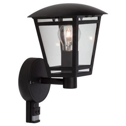 Brilliant Riley Außenwandleuchte stehend mit Bewegungsmelder spritzwassergeschützt schwarz, 1x E27 geeignet für Normallampen bis max. 40W