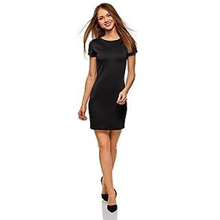 oodji Ultra Damen Jersey-Kleid mit Nieten an den Schultern, Schwarz, DE 42 / EU 44 / XL