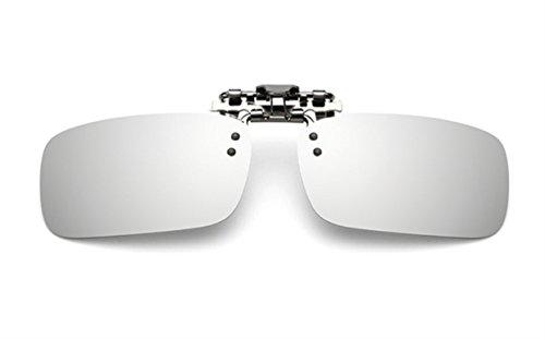 ELSA & ANNA® Polarisierte Sonnenbrillen Unisex Flip-up Klipp auf Sonnenbrille Gläsern Brille VF-GLS03 (Silber Quecksilber)
