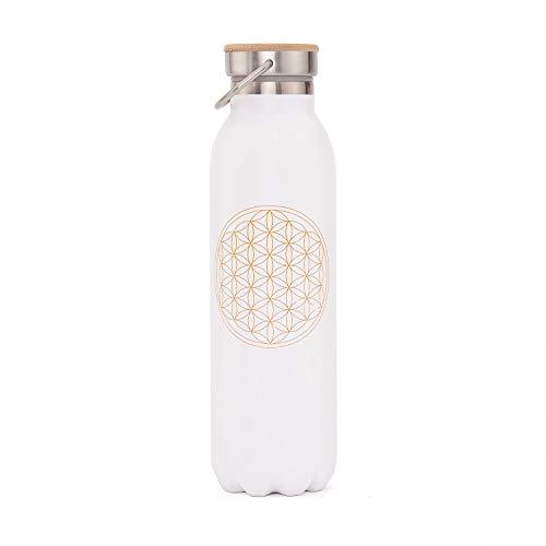Edle Isolier-Trinkflasche aus Edelstahl, Kratzfest, auslaufsicher, 600 ml, mit Blume des Lebens...
