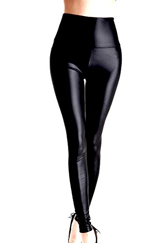 Gladiolus Mujeres PU Cuero Leggings Skinny Elásticos Treggings Pantal