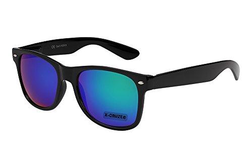 X-CRUZE® 8-056 Nerd Sonnenbrille Style Stil Retro Vintage Retro Unisex Herren Damen Männer Frauen Brille Nerdbrille - schwarz und blau-grün verspiegelt