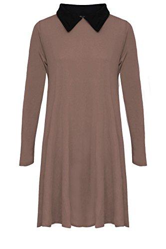 janisramone nouvelles femmes à manches longues extensible swing de maillot lâche peter pan robe simple Moka