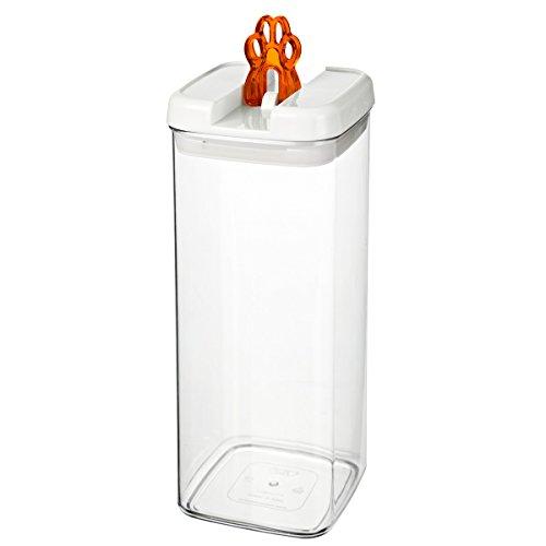 bremermann® Dispensador de pienso con tapa para olores y decoración de zarpa (3,1 litros, naranja, disponible en más tamaños)