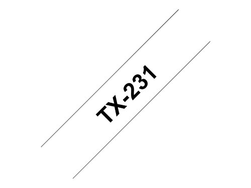 Brother TX-231 laminiert Schriftband 12 mm weiss / schwarz P-touch PC / 8000