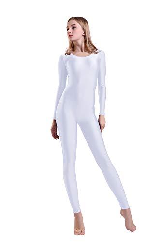 Kepblom Damen Langarm U-Ausschnitt Unitard Spandex Bodysuit für Tanz, Gymnastik-Kostüm - weiß - Large