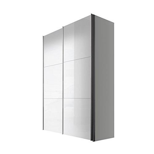 Express Möbel Schwebetürenschrank Weiß Lack 2-türig 150 cm, Korpus Polarweiß, BxHxT 150x216x68 cm, Art Nr. 42660-203