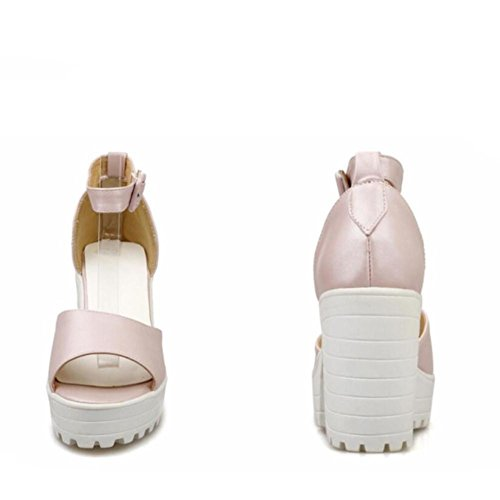 Lemon&T Summer microfibres Women Solid Color Peep-toe antidérapante Heels Sole 9.5CM haut Chunky flatforms Wedge white