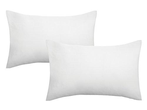 biberna 0077144 Jersey-Kissenhüllen aus 100% Baumwolle mit Reißverschluss, 2er-Pack, 40 x 60 cm Weiß, 27 x 18 x 3 cm (18 Kissen)