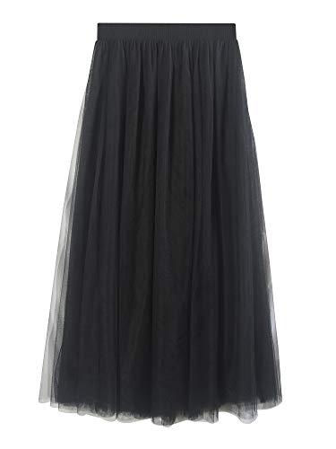 SYEEGCS Falda Larga Tul Mujer Elegante Cintura elástica