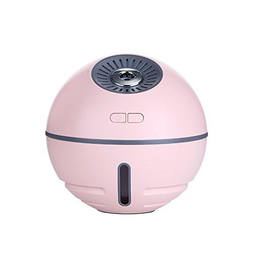 YJIUJIU Ventilador Four-In-One, Humidificador Multifunción De Bola Espacial Luz Colorida De Noche Tesoro De Carga Pequeño Ventilador (116 Mm * 116 Mm * 112 Mm) Rosa
