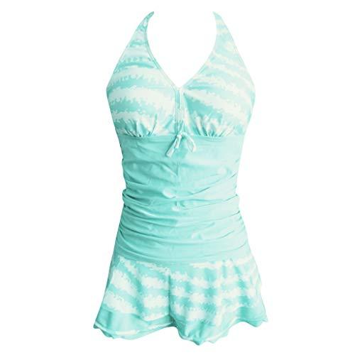 CICIYONER Damen Sommer Frauen Tankini-Sets mit kurzen Shorts Bikini-Set Paisley Swimwear Push-Up gepolsterter BH (Grün, XXXXXL)