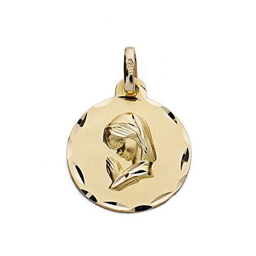 Medalla Oro 18K Virgen Niña 16mm. Rezando Borde Tallado [Ac0948Gr] - Personalizable - Grabación Incluida En El Precio