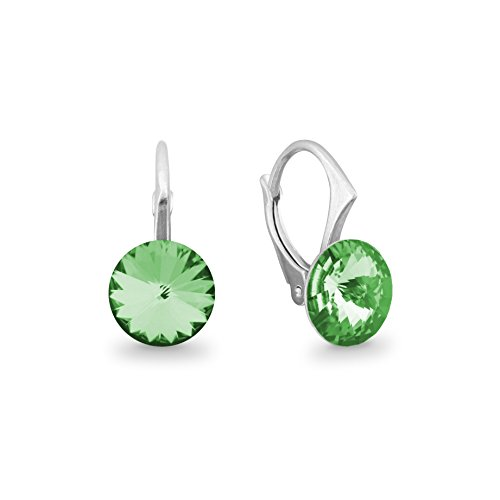 Ana Morales Boucles d'oreille pour femme en argent Sterling 925 avec cristaux Swarovski® Peridot - grün