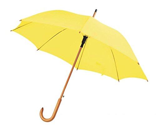 ENT Paraguas amarillo con mango de madera automático - art. EL21018 - Lon. 105 cm - Anc. 105 cm - Alt. 89 cm - Ø105 cm - Ten by Varotto & Co.