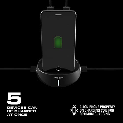 XECH Satellite HUB Wireless Power Bank with Stand 10000 mAH for Qi Enabled Telephones, Fast Charging with 4 USB Ports (Black) Image 5