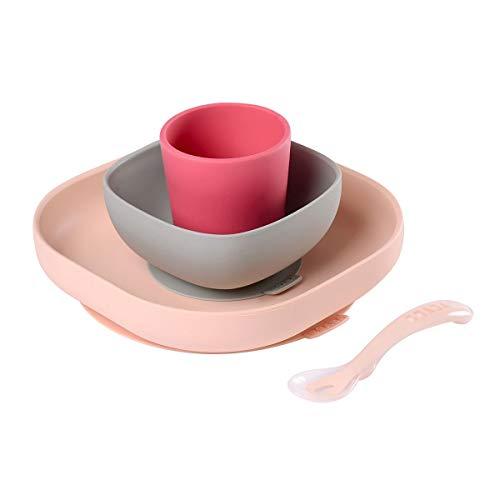 Beaba - Geschirrset aus Silikon, Rosa Kinder Teller Set