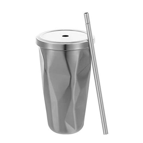 BESTonZON Edelstahl Tumbler mit Stroh Doppelwand Trinkbecher Kaffeetassen 500ml Unregelmäßiger Diamant mit Deckel (Silber)