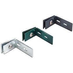 5 x Wandanschluss-Winkel / L Winkel-beschlag aus verzinktem Stahl mit anthraziter (RAL 7016) Pulverbeschichtungim Maß von ca. 6 cm (kurzer Schenkel) x 10 cm (langer Schenkel) x 4 cm (Breite) zur Befestigung von Metallzäunen / Doppelstabmatten an der Wand inkl. Schrauben