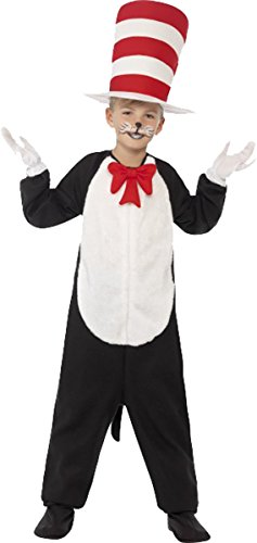 Unisex Kinder Fancy Dress Party Book Woche Animal Cat in the Hat Kostüm Outfit Gr. S Alter 4-6, schwarz