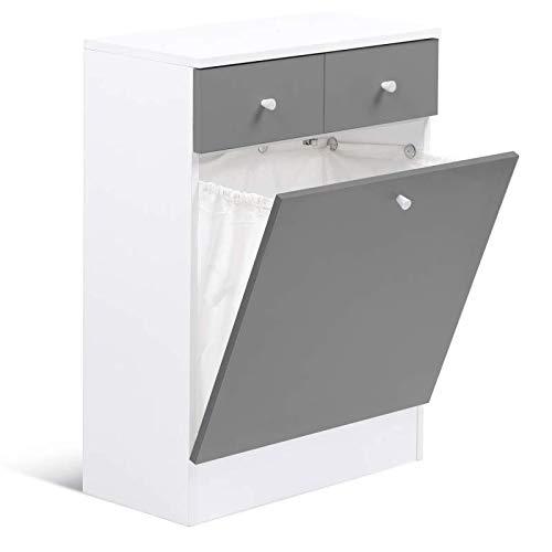 IDMarket - Meuble avec bac à linge intégré en bois gris blanc