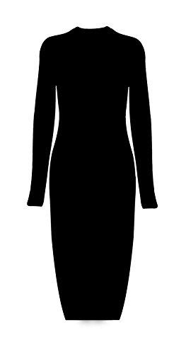 Femme manches longues haut de Deep Side Slit longue Maxi Dress Jumper Noir