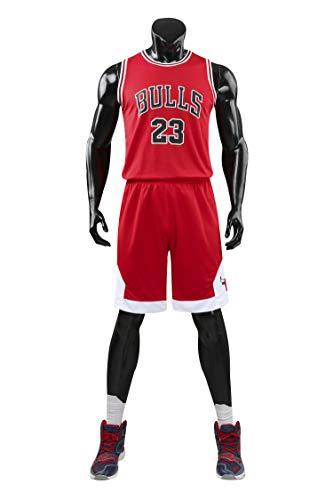 AGAB Herren NBA Michael Jordan # 23 Chicago Bulls Retro Basketball Shorts Sommer Jersey Basketball Uniform Tops und Short One Set-red-L -