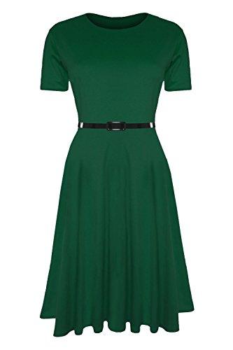 Damen-Skaterkleid mit Gürtel, Einfarbig, Flügelärmel, Mittellanges Swing-Kleid,  Übergrößen erhältlich