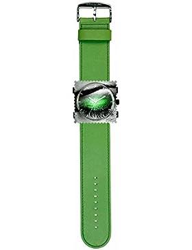 S.T.A.M.P.S. Stamps Uhr komplett - Zifferblatt Soft Dreams auf grünem Lederarmband