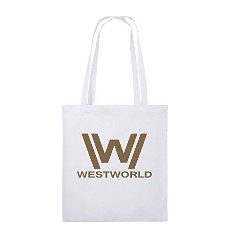 Buste Comiche - Westworld - Logo - Borsa In Juta - Manico Lungo - 38x42cm - Colore: Nero / Argento Bianco / Marrone Chiaro