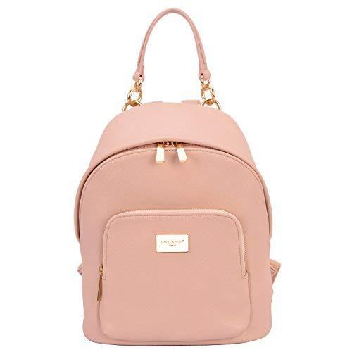 David Jones - Damen Rucksack Daypack Echtes Leder Stil Schulrucksack - Frauen Mittelgroße Schultasche Schulranzen - Mädchen Schultertasche Kleine Handtasche - Fashion Backpack Satchel - Pink Rosa -